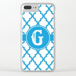 Blue Monogram: Letter G Clear iPhone Case