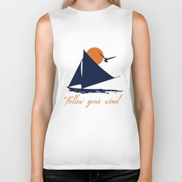 Follow your winds (sail boat) Biker Tank