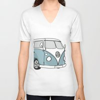 vw V-neck T-shirts featuring VW Camper by 1and9