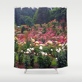 Impresion of a Rose Garden Shower Curtain