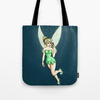 tinker bell Tote Bags featuring Tinker Bell Selfie by Hungry Designs