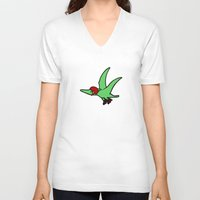 roller derby V-neck T-shirts featuring Roller Derby Pterodactyl by Jez Kemp