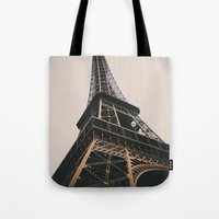 eiffel tower Tote Bags featuring Eiffel Tower by Christine Workman