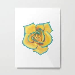 Yellow and Turquoise Rose Metal Print