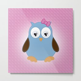 Cool Hooter - Owl illustration pink and blue Metal Print