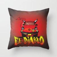 diablo Throw Pillows featuring El Diablo/hell car by mangulica