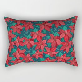 Poinsettia Christmas Floral Rectangular Pillow