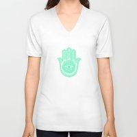 hamsa V-neck T-shirts featuring Hamsa  by Luna Portnoi