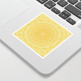 Spiral Mandala (Yellow Golden) Curve Round Rainbow Pattern Unique Minimalistic Vintage Zentangle Sticker