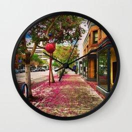 Blooming Sidewalks in Downtown Long Beach Wall Clock