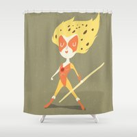 thundercats Shower Curtains featuring Cheetara  by Rod Perich