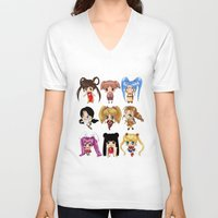 anime V-neck T-shirts featuring Anime Pigtails by artwaste