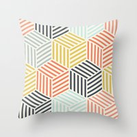 Throw Pillows featuring Colorful Geometric by Patterns and Textures