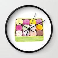 macarons Wall Clocks featuring Macarons by Rachel Zaagman