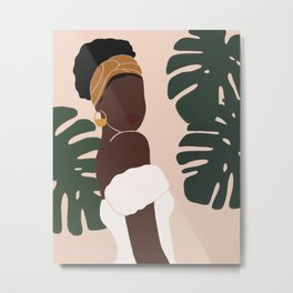 Black Woman Monstera leaves Tropical Metal Print