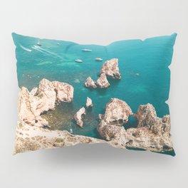 Ocean Landscape Print, Travel Print, Lagos Rocks, Aerial Sea Print, Algarve Portugal Home Decor, Summer Vacation Poster, Yachts and Boats Sailing, Maritime Print, Wall Art Print Pillow Sham