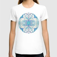 bedding T-shirts featuring Teal Blue, Pearl & Pink Floral Pattern by micklyn