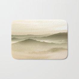 Pastel Blue Green Sepia Sunset Mountains layered parallax Landscape Minimalist Landscape Bath Mat