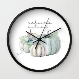 welcome autumn blue pumpkin Wall Clock