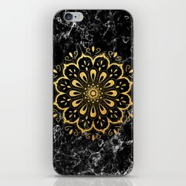 Gold mandala on black marble iPhone Skin