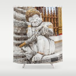sleeping guardian of the temple Shower Curtain