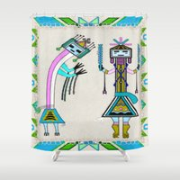 native american Shower Curtains featuring Ceremonial Native American by BohemianBound