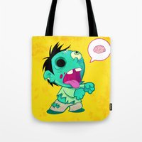 zombie Tote Bags featuring zombie by Melissa Ballesteros Parada