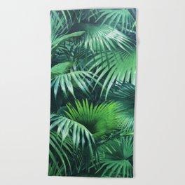 Tropical Botanic Jungle Garden Palm Leaf Green Beach Towel