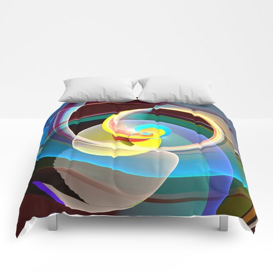Modern colourful abstract with circles in motion Comforters