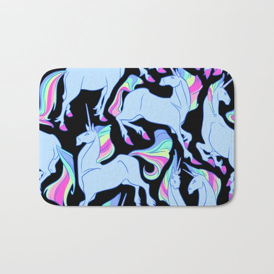 Ultraviolet rainbow unicorns Bath Mat