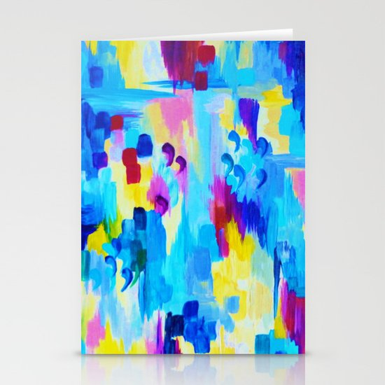 DONT QUOTE ME, Revisited - Bold Colorful Blue Pink Abstract Acrylic Painting Gift Art Home Decor  Stationery Cards