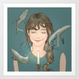 GIRL WITH WHALES Art Print