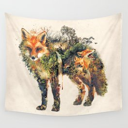 The Fox Nature Surrealism Wall Tapestry