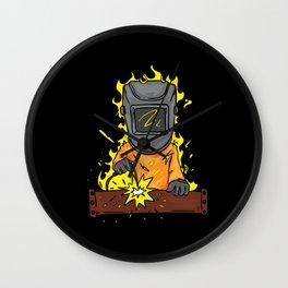 Cartoon Welder Who Is On Fire Wall Clock