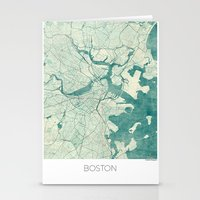boston map Stationery Cards featuring Boston Map Blue Vintage by City Art Posters