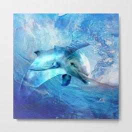Watercolor Dolphin  Digital Art Metal Print