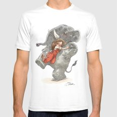 Elephant Hug Mens Fitted Tee White LARGE