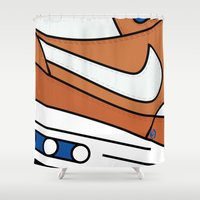 nike Shower Curtains featuring SNEAKERPILLOW - NIKE AIR MAX ONE CURRY by SNEAKERPILLOW
