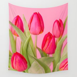 Red Tulip Flowers Wall Tapestry