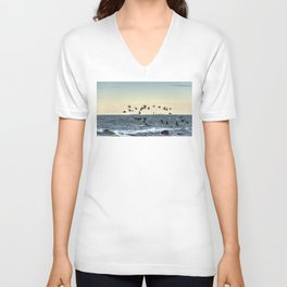 Flying flock of cormorants Unisex V-Neck