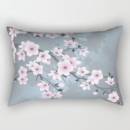 Dusky Pink Grayish Blue Cherry Blossom Rectangular Pillow