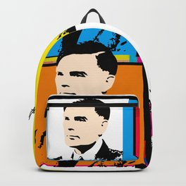 ALAN TURING, ENGLISH MATHEMATICIAN, WWII ENIGMA CODEBRAKER, POP-ART STYLE 4-UP MONTAGE Backpack