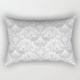Stegosaurus Lace - White / Silver Rectangular Pillow