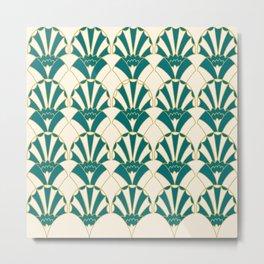 Art Deco Fans 1.1 Green Gold & Cream Decorative Fan Design Metal Print