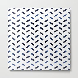 Blue Indigo Series - Stroke Pattern Metal Print