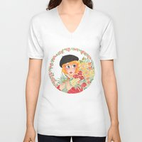 enjolras V-neck T-shirts featuring Flowers by foxflowers