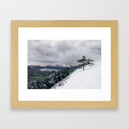 Views of Derwent Water from Latrigg, covered in snow. Cumbria, UK. Framed Art Print