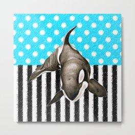 Orca Whale  Blue Polka Dot Metal Print