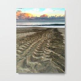 Leatherback Turtle Tracks Metal Print