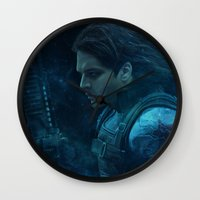bucky barnes Wall Clocks featuring The Winter Soldier (Bucky Barnes) by thecannibalfactory